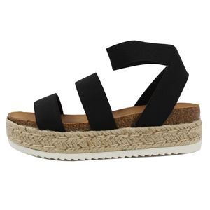 Black Open Toe Two Band Strap Ankle Strap